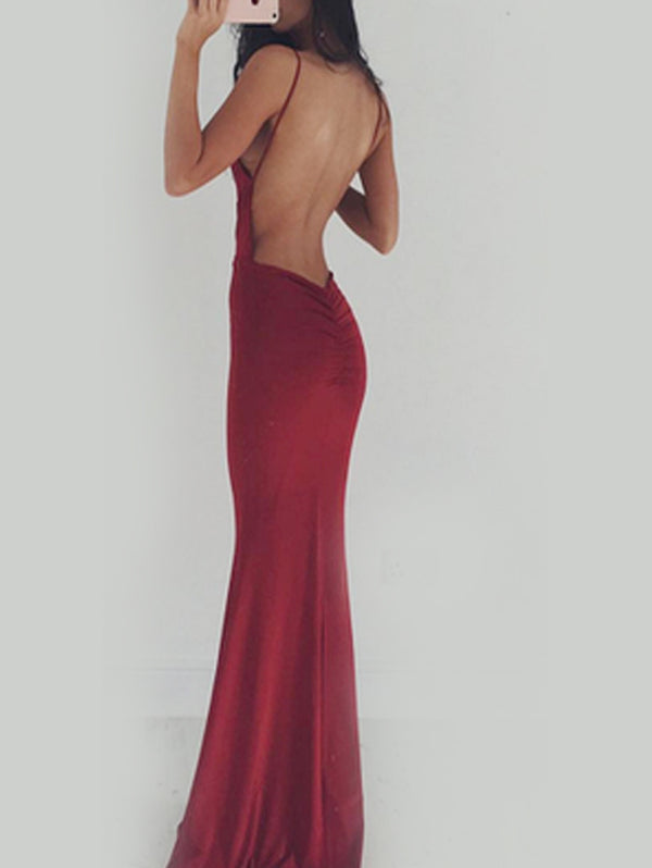 Sleeveless Sling Backless Evening Dress