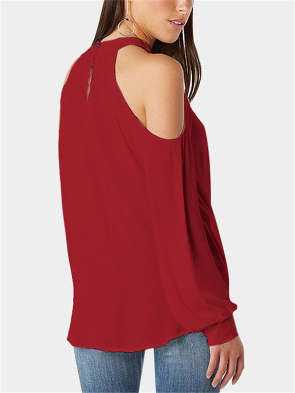 Solid Color Sexy Strapless Long Sleeve T-shirt