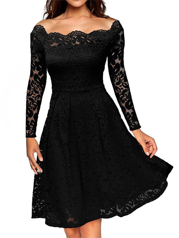 Elegant Off-the-shoulder Sexy Lace Dress