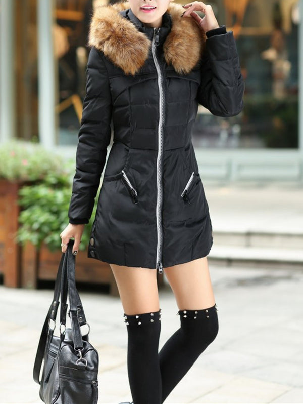 Mid-length Slim Large Fur Collar Hooded Padded Coat