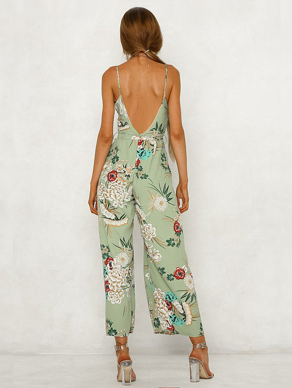 Sexy V-Neck Off-The-Shoulder Print Long Slit Jumpsuit