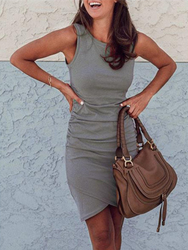 Casual Ruched Criss-Cross Slim Bodycon Dress