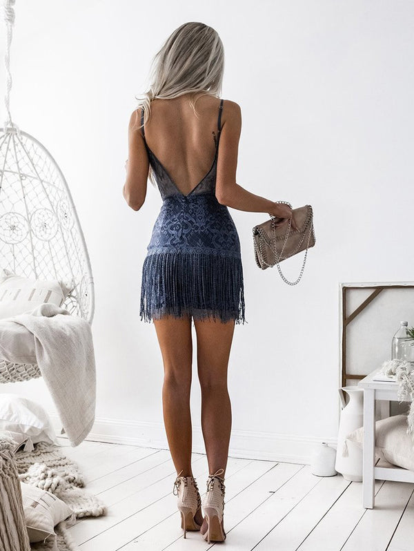 Sexy Deep V Sling Open Back Casual Dress