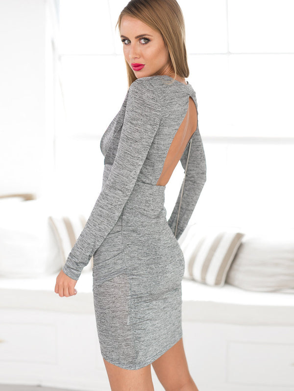 Slim-fit Deep V Exposed Backpack Hip Long-sleeved Knit Dress