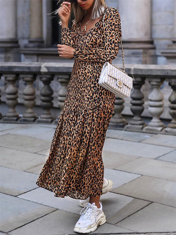 Leopard V-neck Casual Dress