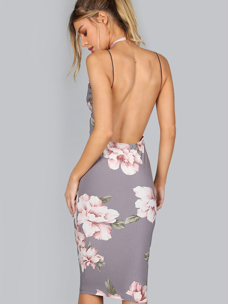 Backless Floral Bodycon Dress