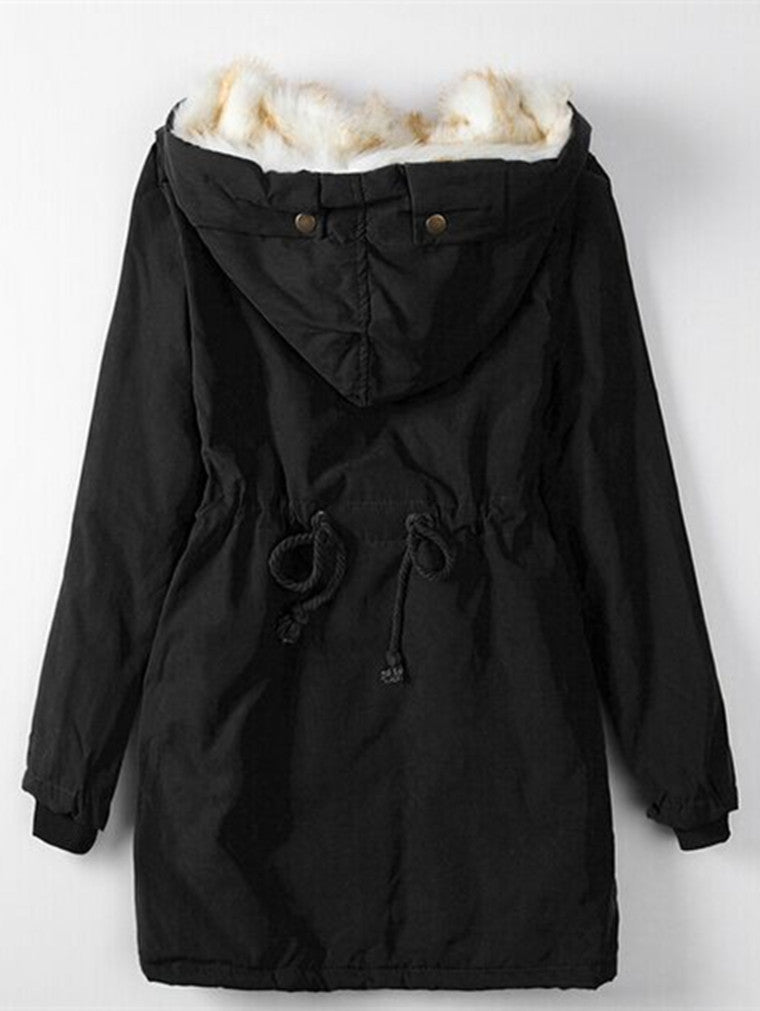 Slim-fit Large Fur Collar Down Jacket Cotton Coat