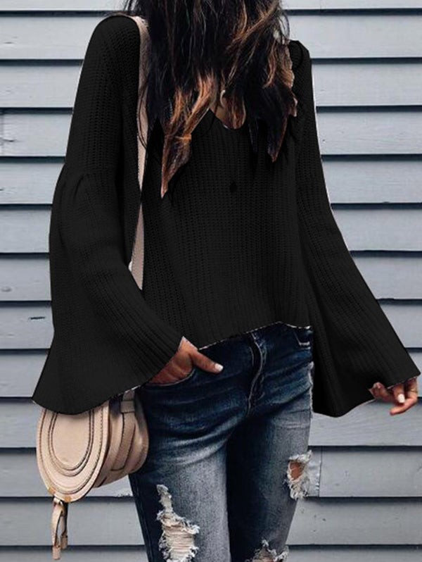 Wool Loose Horn Sleeve Sweater