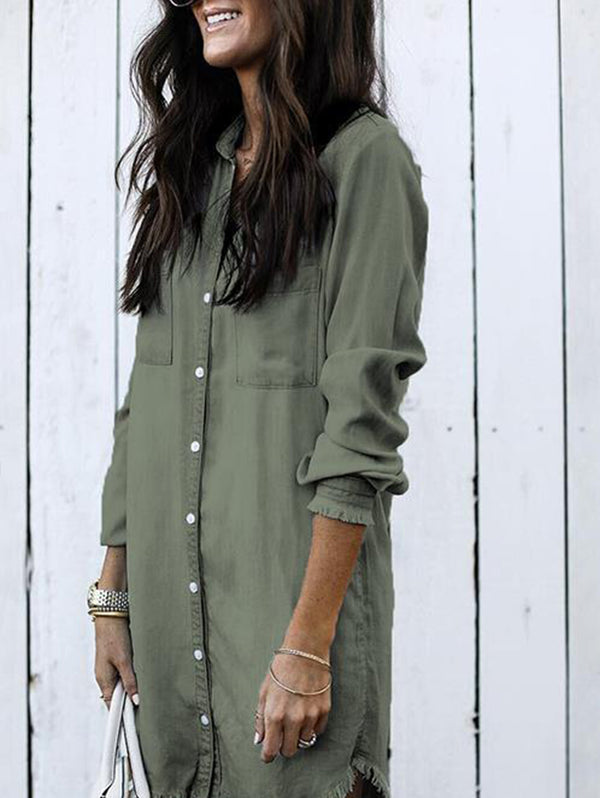 Plain Long Sleeve Denim Shirt