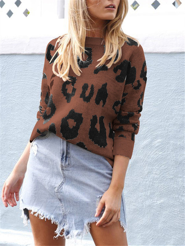 Solid Color Long Sleeve Leopard Print Loose Knitwear