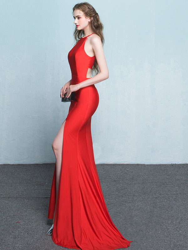 Long Fishtail Halter Evening Dress