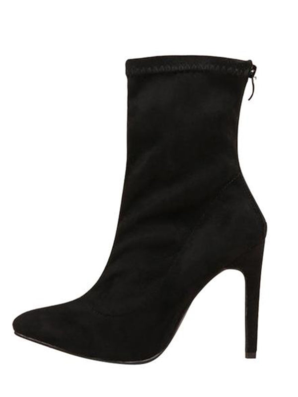 Suede Stiletto Heeled Ankle Boots