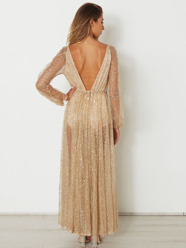 Sexy Deep V Hot Drill Long Sleeve Evening Dress