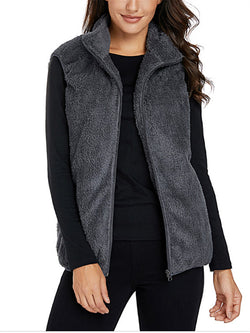 Plush Vest High Collar Zipper Jacket