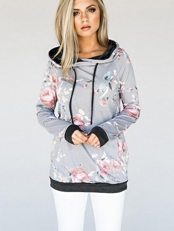 Hooded Printed Slim Warm Drawstring Blouse