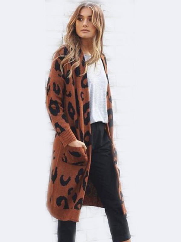 Leopard Print Long Sleeve Knit Sweater Coat