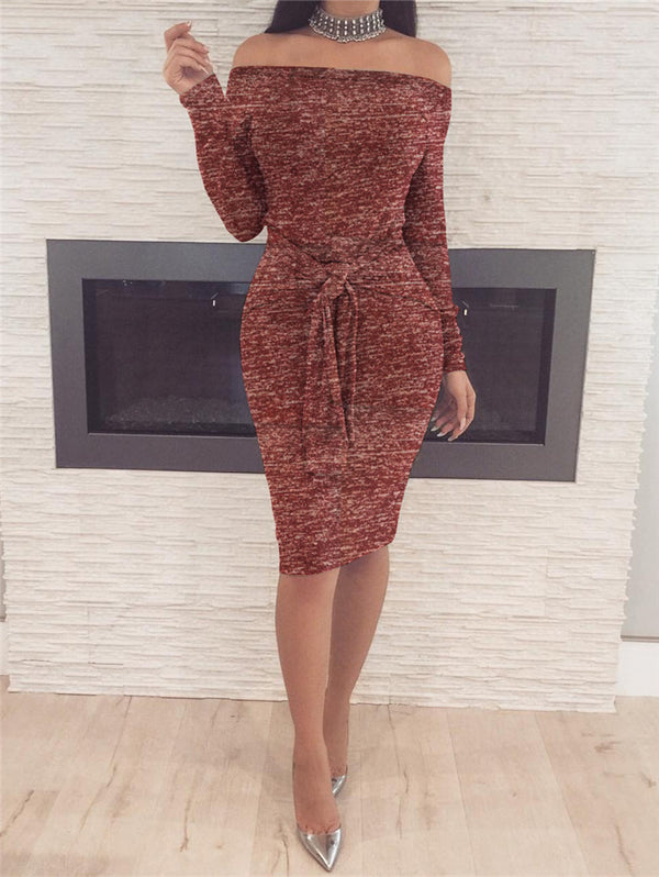 Slim Off-the-shoulder Long sleeve Bodycon Dress
