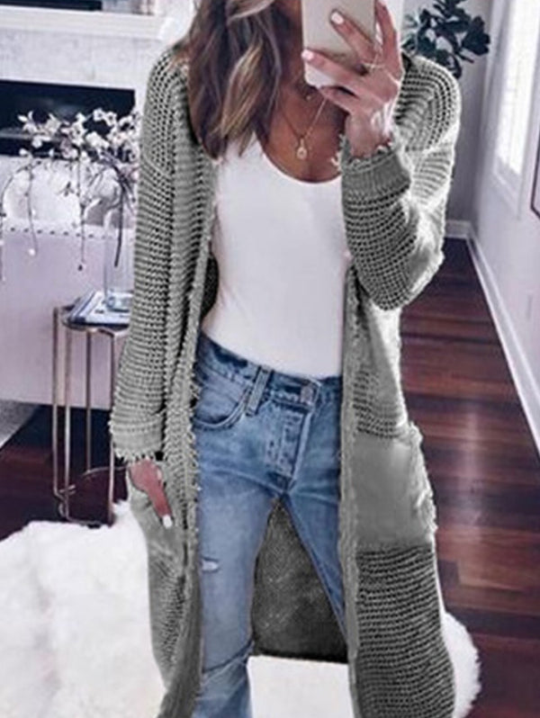 Long Sleeved Solid Color Cardigan