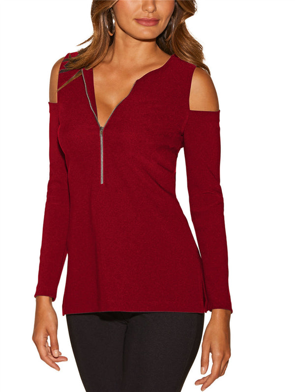 Sexy Zipper V-neck Long Sleeve T-shirt