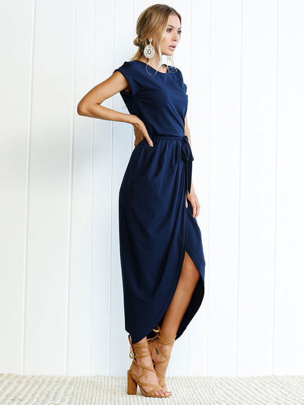 Solid Color Anti-Sleeve Flat Jumpsuit Long Casual Dress