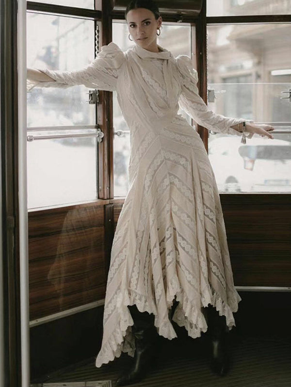 Court Retro Style Lace Long Sleeve Dress