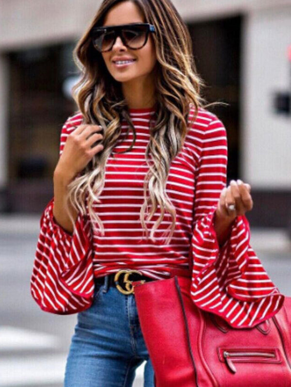 Long Sleeve Trumpet Sleeve Striped Shirt