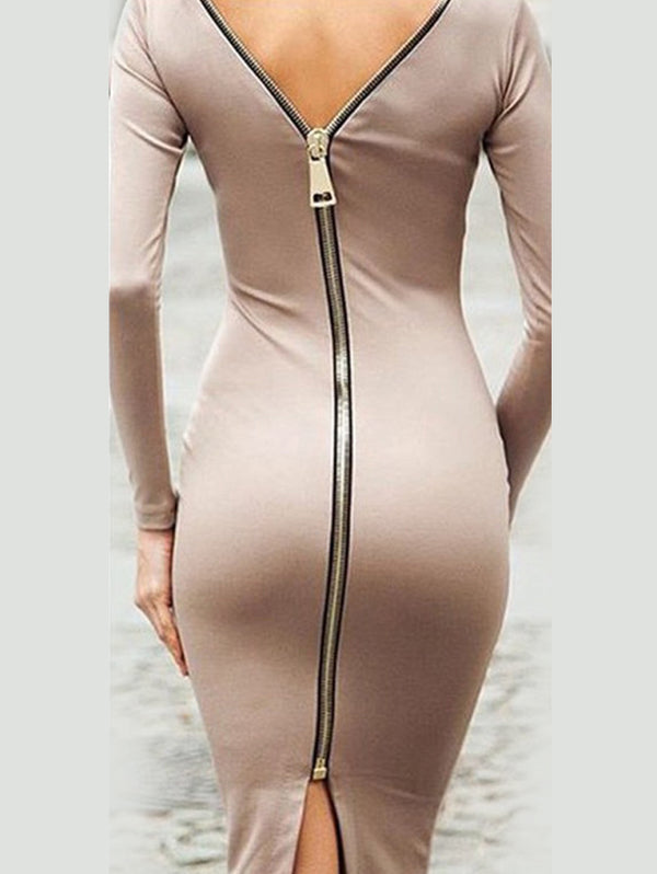 Long Sleeve Slim-fit Zip Bodycon Dress