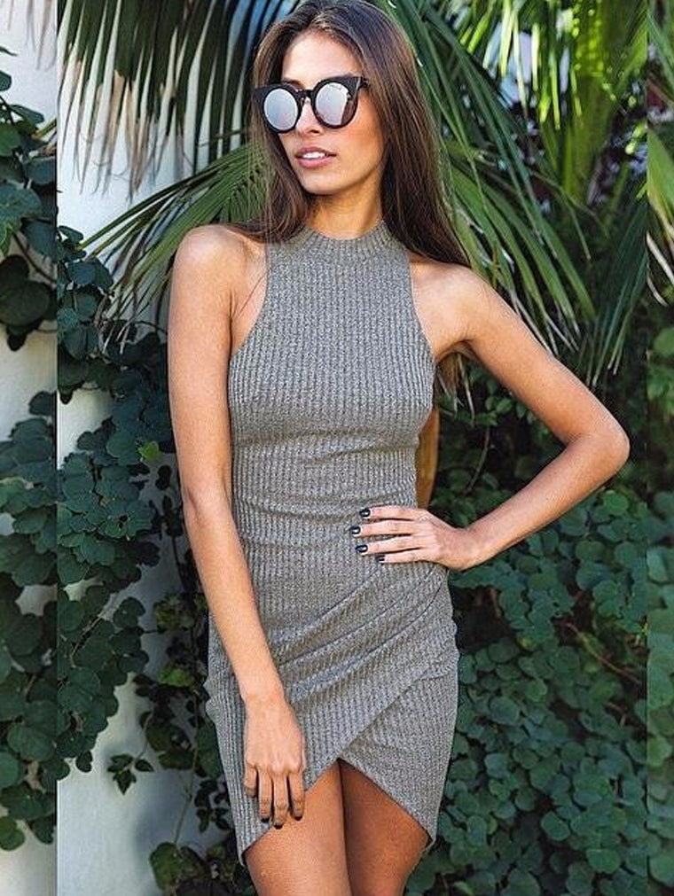 Elegant Grey Sleeveless Knitted Casual Bodycon Dress