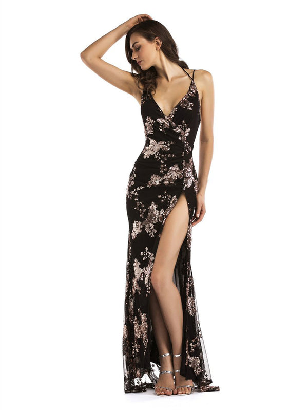 Embroidery Strap Plunge Slit Evening Dress