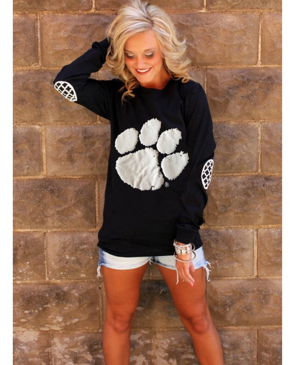 Bear Paw Print Comfortable Loose Shoulder-knit