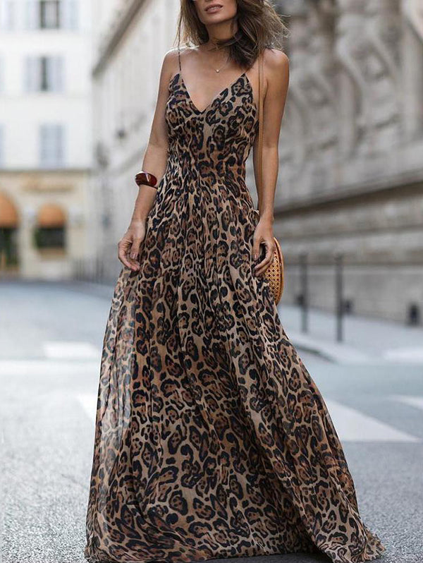 Fashion Sexy Long Leopard Dress