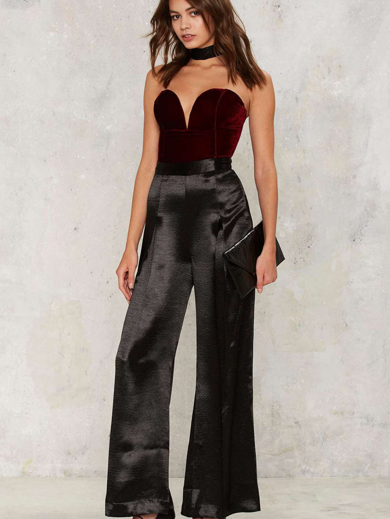 Sexy Tube Top Halter Straps Jumpsuit