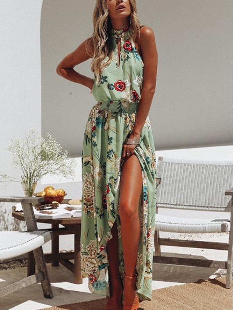 Long Maxi Dresses Bohemia Halter Sleeveless Floral Print Ethnic Style