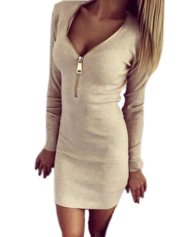 Zipper O-neck Sexy Knitted Long Sleeve Bodycon Dress