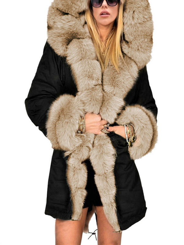 Warm Long Fur Collar Hooded Coat