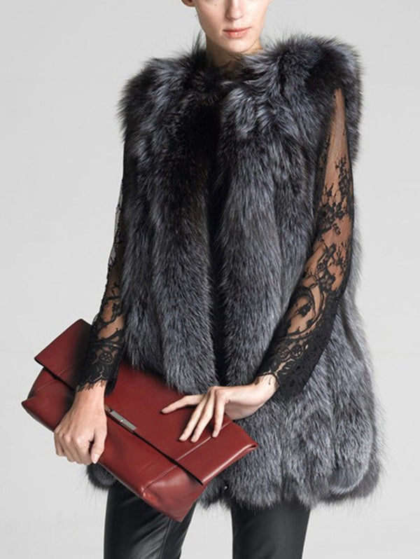 Fashion Mid-Length Fur Vest Coat
