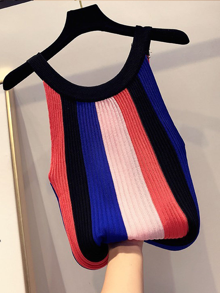 Colorful Striped Sexy Strapless Top