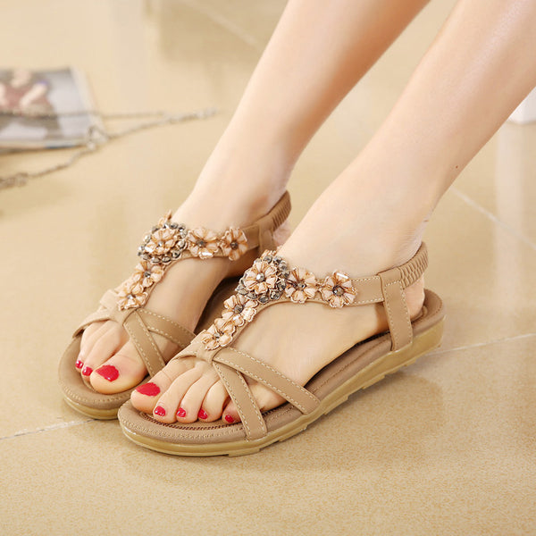 Elastic Band Wedge Peep Toe Sandals