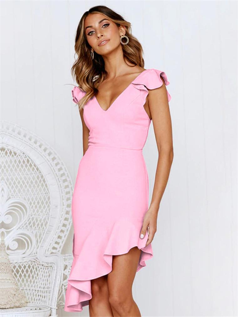 Solid Color Sleeveless Slim Sexy Party Dress