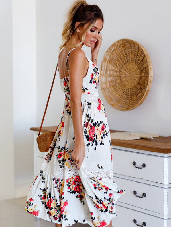 Long Backless Print Floral Dress