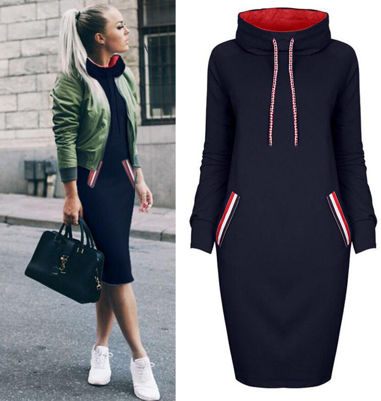High Neck Long Sleeve Bodycon Dress