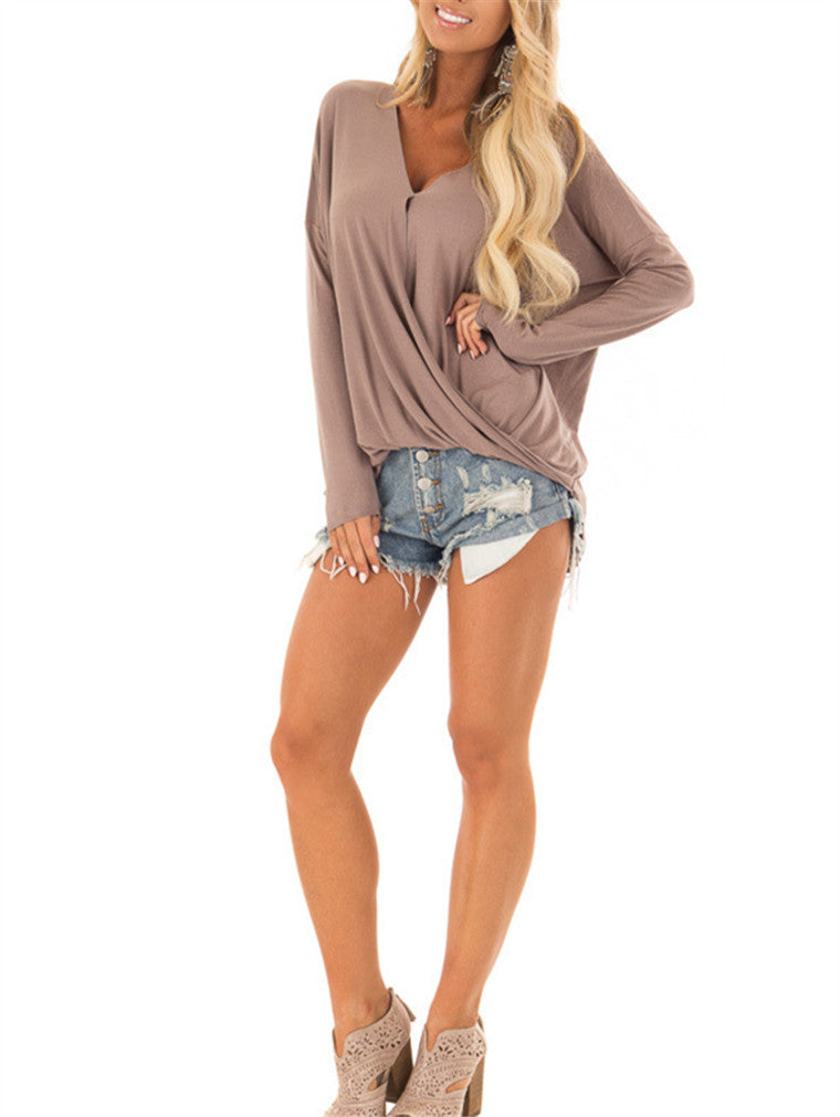 Deep V Solid Color Long Sleeve Top