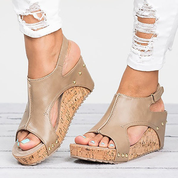 PU Blocking Hook-Loop Wedge Sandals Peep Toe Shoes