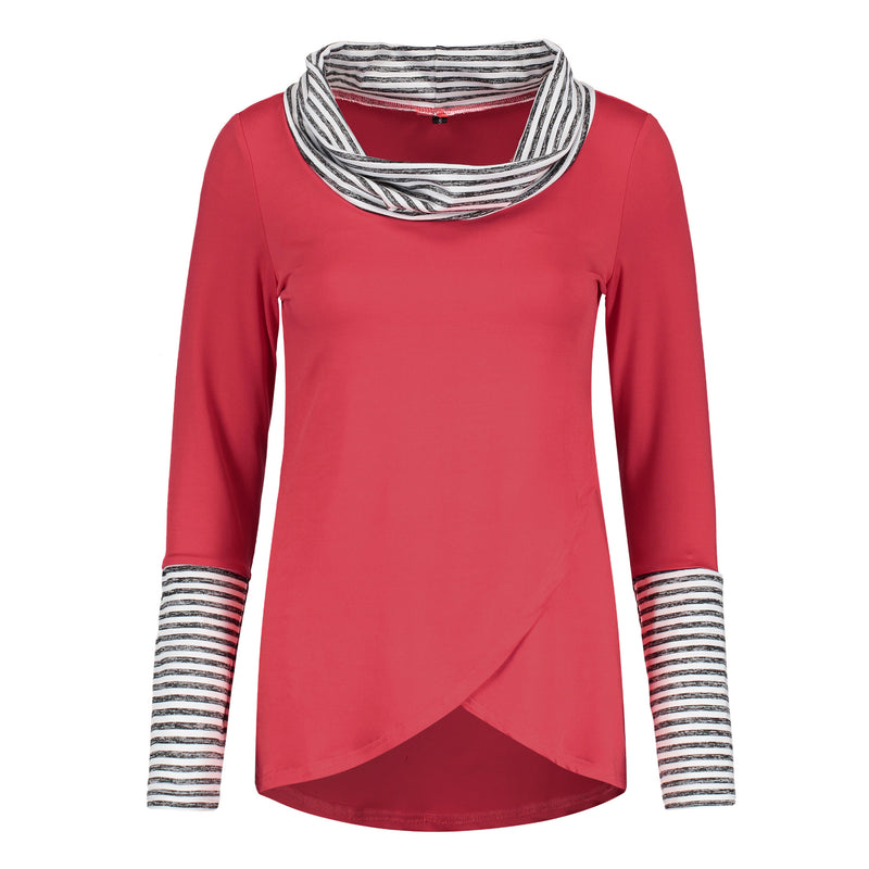 Fashion Striped High Collar Colorblock T-shirt