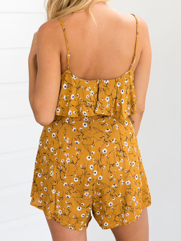 Lace V-Neckline Sleeveless Floral Print Jumpsuits