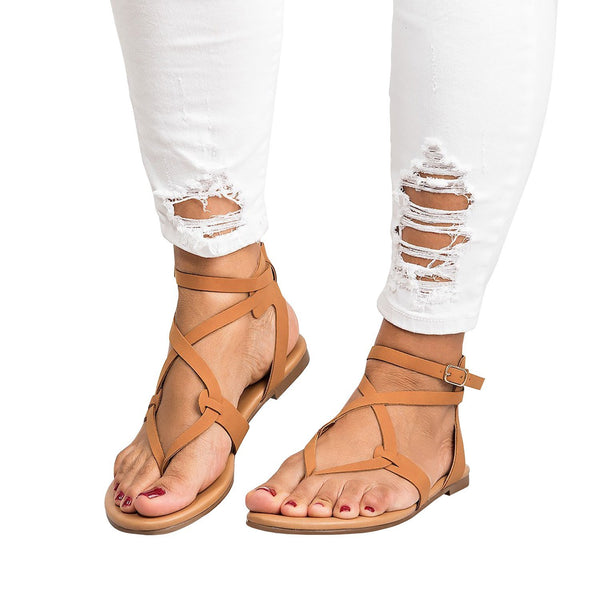 PU Flat Criss Cross Toe Post Sandal