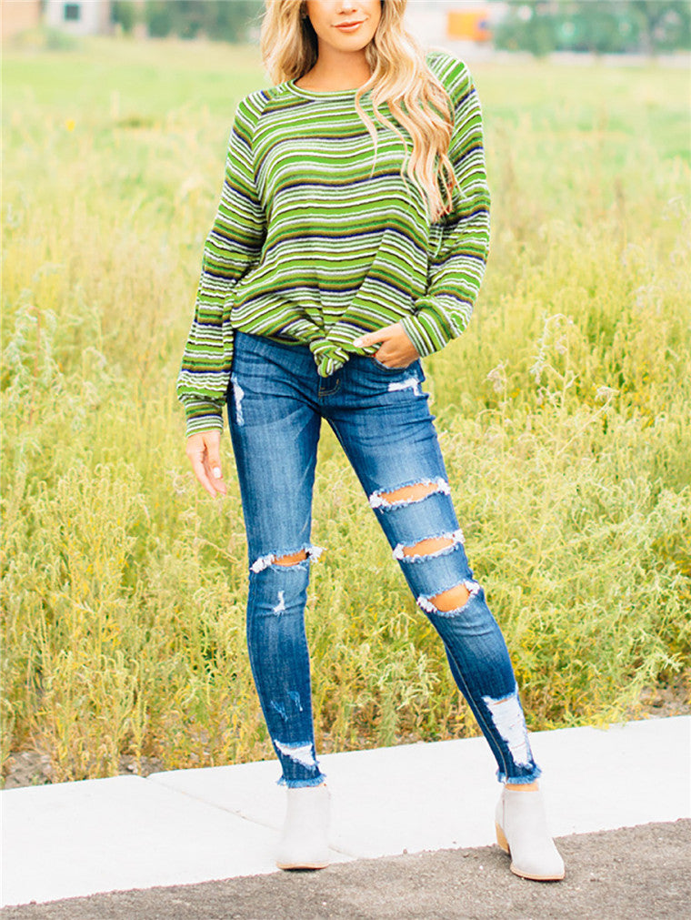 Striped Round Neck Long Sleeve T-shirt