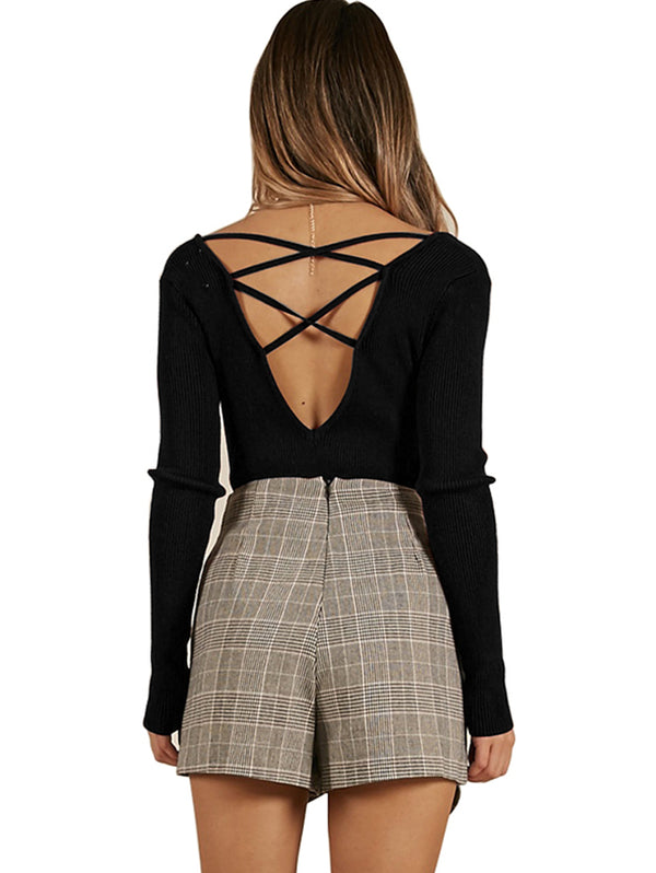 Backless V-Neckline Long Sleeve Sweater