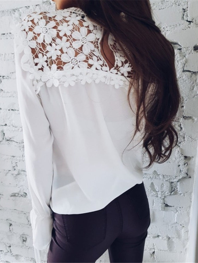 Casual Lace Stitching Long Sleeve Chiffon Shirt
