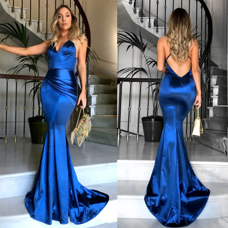 Sexy Deep V Strap Solid Color Dress